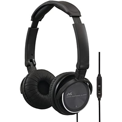 JVC HASR500B Lightweight Collapsible Headphones with Mic and Remote