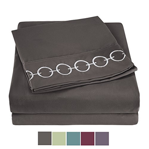 Snuggle Sheet Sets Ultra Soft Double Brushed Microfiber 1800 Bedding - Wrinkle, Fade, Stain Resistant, Easy Care - Full, Pewter Grey, Chain Embroidered