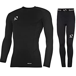 Sondico Boys Base Layer Tights & Top Set Junior Football Core Baselayer (Black L/S with Pants, 7-8 years) 10