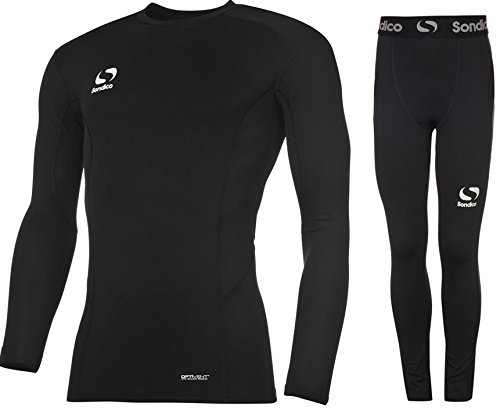 Sondico Boys Base Layer Tights & Top Set Junior Football Core Baselayer (Black L/S with Pants, 13 years)