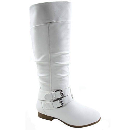TOP Moda Coco-20 Women's Fashion Round Toe Low Heel Knee High Zipper Riding Boot Shoes (6, White)]()