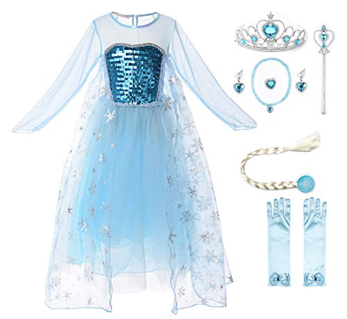 JerrisApparel Girl Princess Elsa Costume Sequin Mesh Party Dress with Sleeve (3T, Long Sleeve with Accessories) -