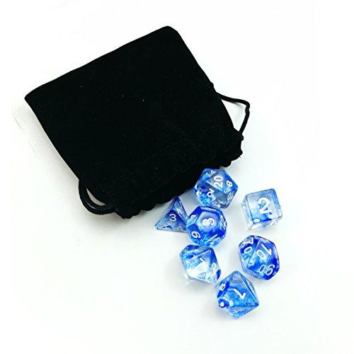 Logo Etched Collectible Glass - Nebula Polyhedral Dice Blue Complete 7pcs Set of d4 d6 d8 d10 d12 d20 d%
