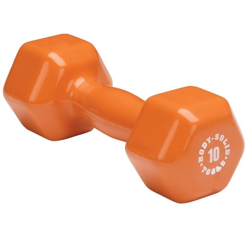 Body-Solid Tools BSTVD15 15 Pound Vinyl Dumbbell for Weight and Aerobic Training, Pilates, and Physical Therapy