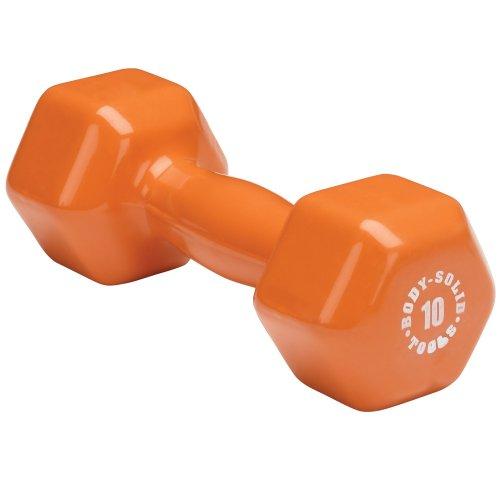 Body Solid Tools BSTVD10 10-Pound Vinyl Dumbbell (Orange) (Vinyl Dumbell Coated)