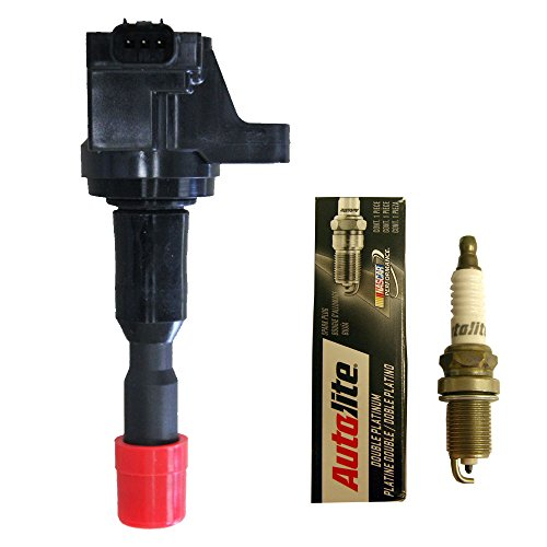 (Set of (1) Heavy Duty Ignition Coil + (1) Autolite Double Platinum Spark Plug For Honda Fit)