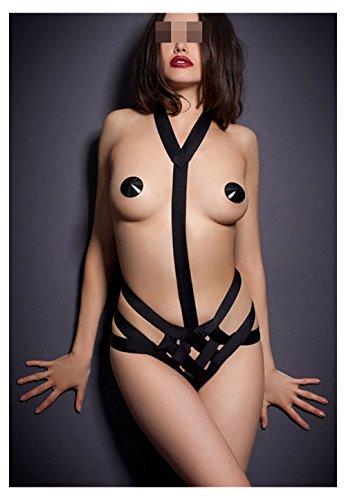 Lifeisbest Sexy Underwear Bikini Gauze Open Stitched Black Pajamas