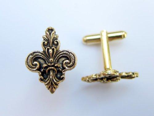 Fleur Di Lis Ornate Gold Cufflinks By Classic Cufflinks