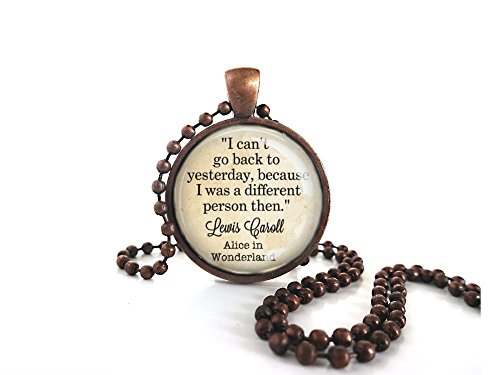 Bead Pendant Glass Antique (Little Gem Girl Alice in Wonderland Book I Can't Go Back Quote Glass Pendant in Antique Copper Necklace Ball Chain)