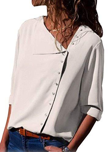 Camicetta a Lunghe Shirt Tops Chiffon Chiusura Solido E Casuale Bianco V Donna Elegante A Scollo ShallGood T Bottoni Asimmetrico con Primavera Camicia Maniche Autunno Blusa FwxCfqH5P