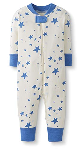 Moon and Back by Hanna Andersson Baby/Toddler One-Piece Organic Cotton Footless Pajamas, Blue Star, Preemie