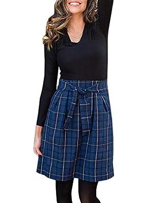 Jeanewpole1 Womens Plaid Midi Skirts Belted High Waisted Tweed A-Line Skirts