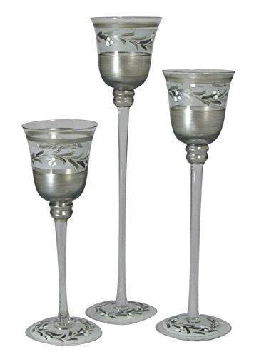 Holder Candle Pewter Vine (Crafted Creations Set of 3 Pewter Vine Hand Painted Stemmed Votive Candle Holders 12