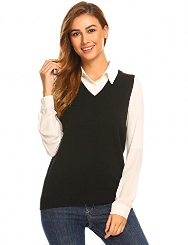 Bifast Girl Classic V-Neck Sleeveless Solid Slim Fit Thin Knit Pullover Sweater (Women Black Sweater Vest)