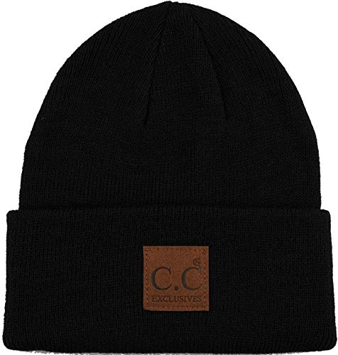 Classic Hat Leather Black (MH-100-106 Mens Beanie Classic Knit Cap with Logo Patch - Watch Hat (Black))