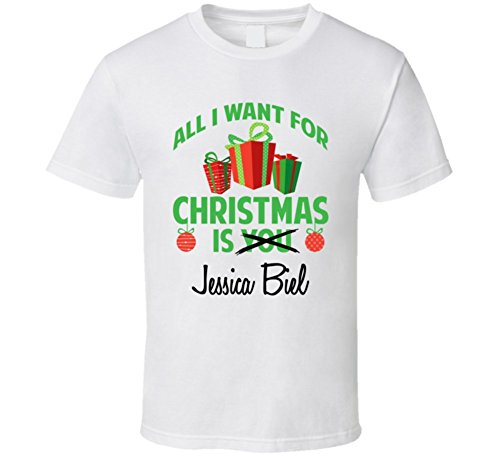 All I Want for Christmas is You Jessica Biel Funny Xmas Gift T Shirt 2XL - Biel Jessica Clothes