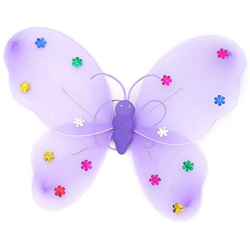 JUSTnowok 3pcs/Set Girls Led Flashing Light Fairy Butterfly Wing Wand Headband Costume Toy (Purple)