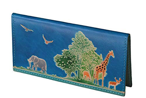 """Genuine Leather Checkbook Cover,""""Animal Kingdom"""" Pattern Embossed, More Color (Blue)"""