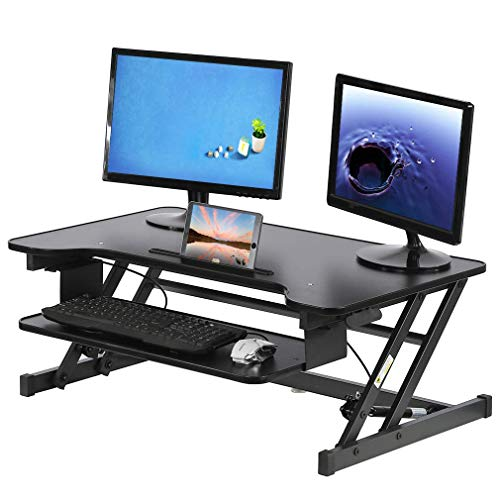 Standing Desk Computer Workstation Adjustable Height Desk Stand Up Desk Sit Stand Desk for Laptop and Monitor,Extra Large Work Area 36""