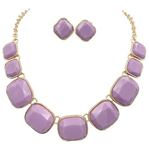 Gypsy Jewels Abstract Dot Bubble Gold Tone Boutique Statement Necklace Earrings Set - Assorted Colors (Lavender Light Purple)