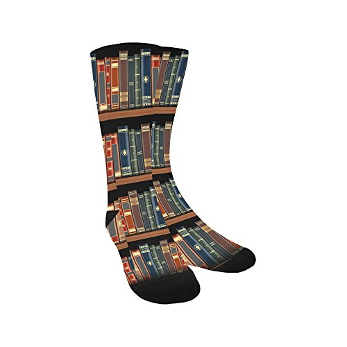 Unique Debora Custom Hosiery Knee-High Socks Leg Warmers for Unisex with Bookshelf Full Of Books Old Library