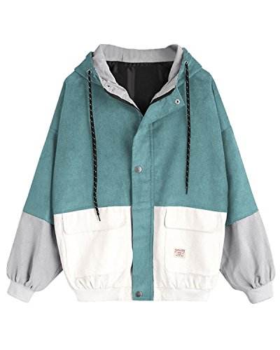 ZAFUL Women Teen Hooded Color Block Corduroy Jacket Long Sleeve Oversized Coat(Blue Green,M)