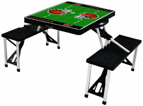 NFL Cincinnati Bengals Football Field Design Portable Folding Table/Seats, Black - Card Bengals