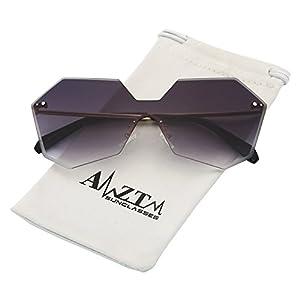 AMZTM Trend Fashion Street Style Shades Retro Eyewear Frames Irregular Rimless Gradient Ocean Lenses Driving Glasses Womens Oversized Sunglasses (Gradient Grey, 60)