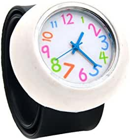 Unisex 3D Cartoon Black White Kids Watch Girls Boys Sports Watch Bendable Rubber Strap Wrist Watch