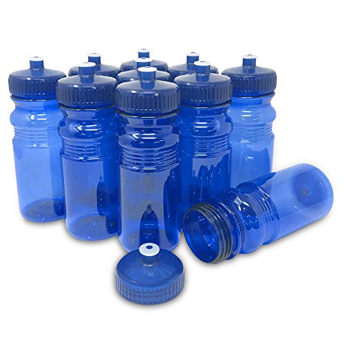 CSBD Blank 20 oz Sports and Fitness Water Bottle, BPA Free, PET Plastic, Made in USA, Bulk (Blue, 10 Pack)