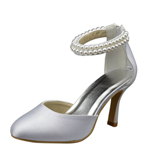 Minishion Womens Stiletto Heel Zipper Satin Evening Party Bridal Wedding Beading Strappy Pumps Ivory-9cm Heel AkVdzzM