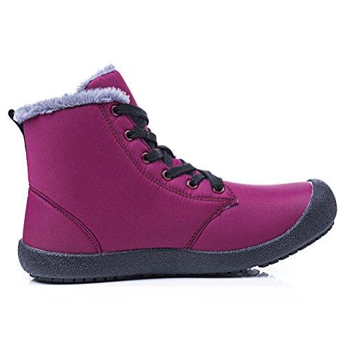 Dannto Snow Boots High Top Impermeabile Outdoor Pelliccia Foderato Inverno Caldo Scarpe Stivaletti Alla Caviglia Per Uomo Donna Vino Rosso