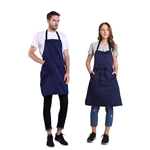 BIGHAS Adjustable Bib Apron with Pocket Extra Long Ties for Women, Men, Chef, Kitchen, Home, Restaurant, Cafe, Cooking, Baking, Gardening etc 13 Colors (Navy)