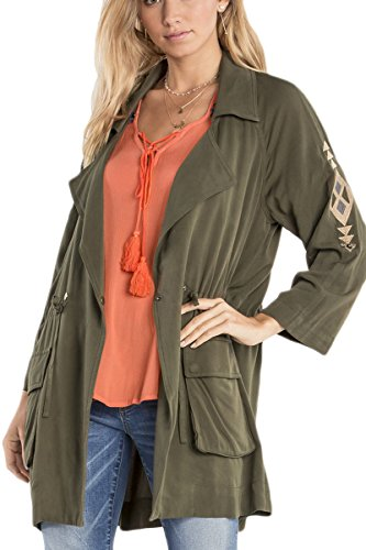Miss Me MDJ400L Olive Embroidered Utility Jacket (Green Embroidered Jacket)