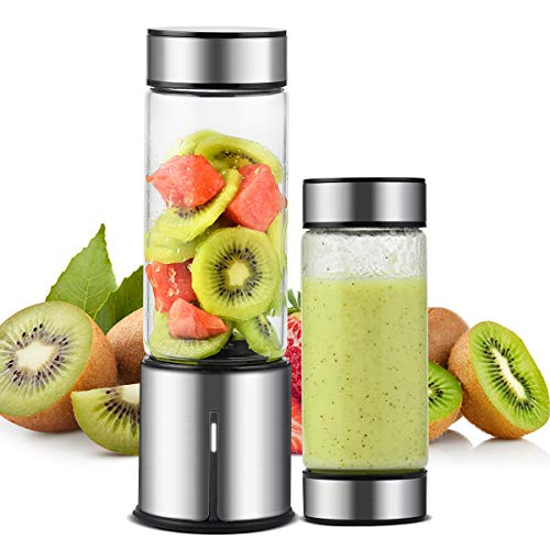 Portable Blender, TTLIFE 2 Cup Cover Personal Juicer Blender with 15oz, 5000mAH USB Rechargeable Cordless Smoothie Glass Blender for Travel, Gym, Picnic, Office, Home, Kitchen (FDA, BPA free)