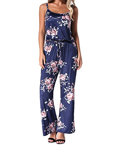 - Auxo Women Floral Printed Jumpsuit Sleeveless Strap Wide Leg Boho Summer Casual Long Pants Playsuit Rompers Playsuit Navy 2XL