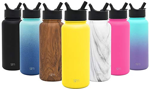 Simple Modern 22 oz Summit Water Bottle with Straw Lid - Gifts for Kids Hydro Vacuum Insulated Tumbler Flask Double Wall Liter - 18/8 Stainless Steel -Sunshine]()