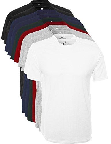Lower East Herren T-Shirt mit Rundhalsausschnitt 10er Pack, Mehrfarbig (Schwarz/Weiß/Navy/Grau/Rot/Grün), Large