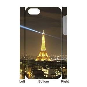 Unique Phone Cases Jeubd iphone4 4S 3D Cell Phone Case White paris france eiffel tower night city lights Plastic Durable Cover