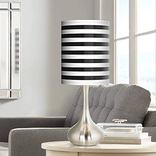 Black Horizontal Stripe Giclee Droplet Table Lamp - Giclee Glow