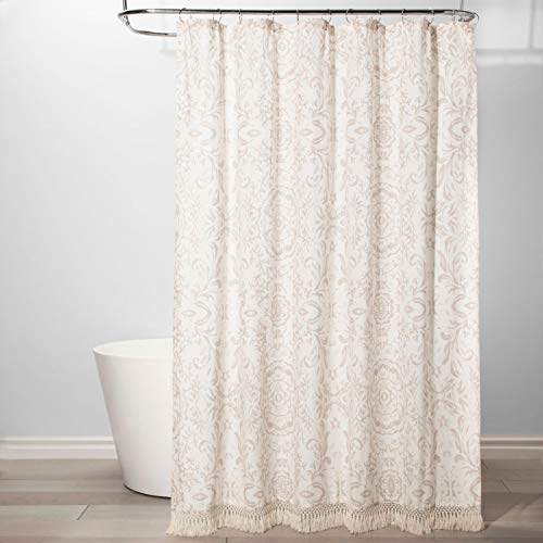 Threshold Floral Fringed Fabric Shower Curtain Ivory, Gray]()