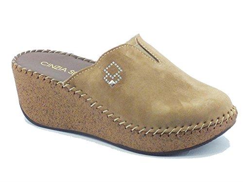 Cinzia Soft Iu88202 Camoscio Taupe - Zapatillas de estar por casa de Piel para mujer Taupe