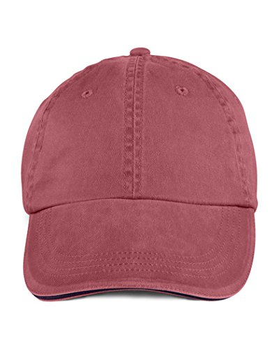 (Anvil 166 6-Panel Pigment-Dyed Twill Sandwich Cap, Red Rock and Navy)