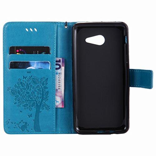 Yiizy Samsung Galaxy J5 (2017) Custodia Cover, Alberi Disegno Design Sottile Flip Portafoglio PU Pelle Cuoio Copertura Shell Case Slot Schede Cavalletto Stile Libro Bumper Protettivo Borsa (Blu)