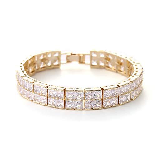 Gold Color Double Row Zircon Bracelets Bangles | for Women Square Cubic Bracelet 18Cm Length ()