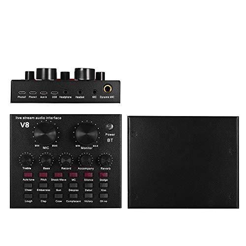 V8 BT  Soundkarte Soundeffekte for PC Phone Live Mischpult Mixer Schwarz