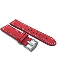 20mm Red Racer with White Stitching, Genuine Leather Watch Strap Band, with Stainless Steel Buckle, NEW!