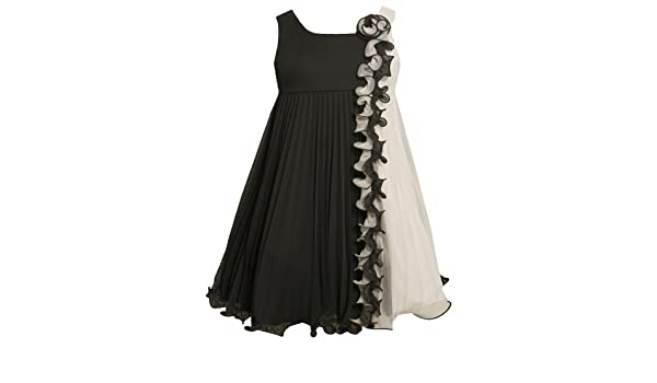 e738b52717c8 Bonnie Jean Positive Negative Pleated Chiffon Babydoll Dress BK3NA Little  Girls Special Occasion Flower Girl Holiday BNJ Social Dress, Black:  Amazon.ca: ...