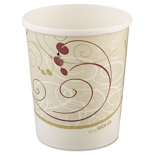 SOLO Cup Company Flexstyle Double Poly Paper Containers, 32 oz, Symphony Design, 25/Pack - 500 containers per case, 25 per pack.