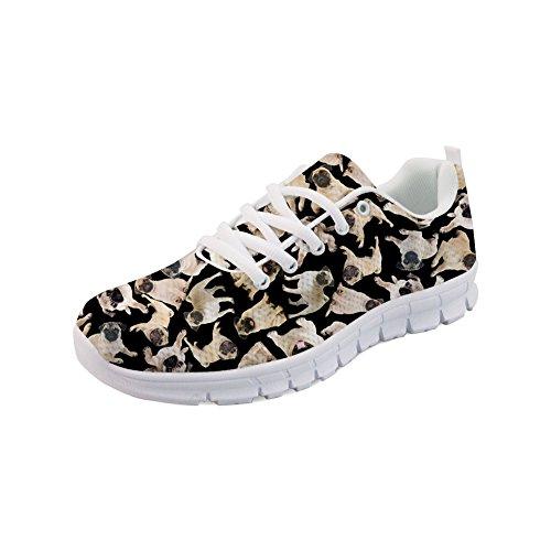 cheaper f444b 3dafd Instantarts Cute Pug Puzzle Black Women Casual Casual Casual Walking  Running Sneaker Shoes B07B4Z6S9W Shoes 3c98c6